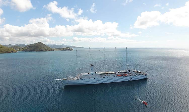 JD's drone capture of Windstar Cruises' Wind Surf, March 2017.