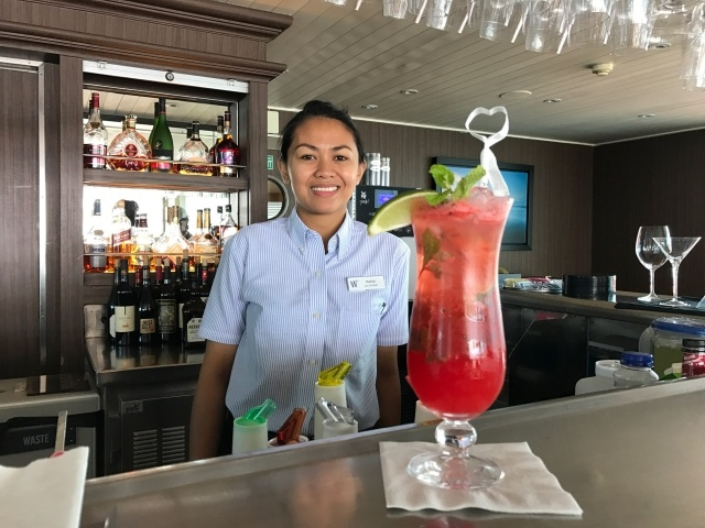Bar steward Maria on Wind Surf