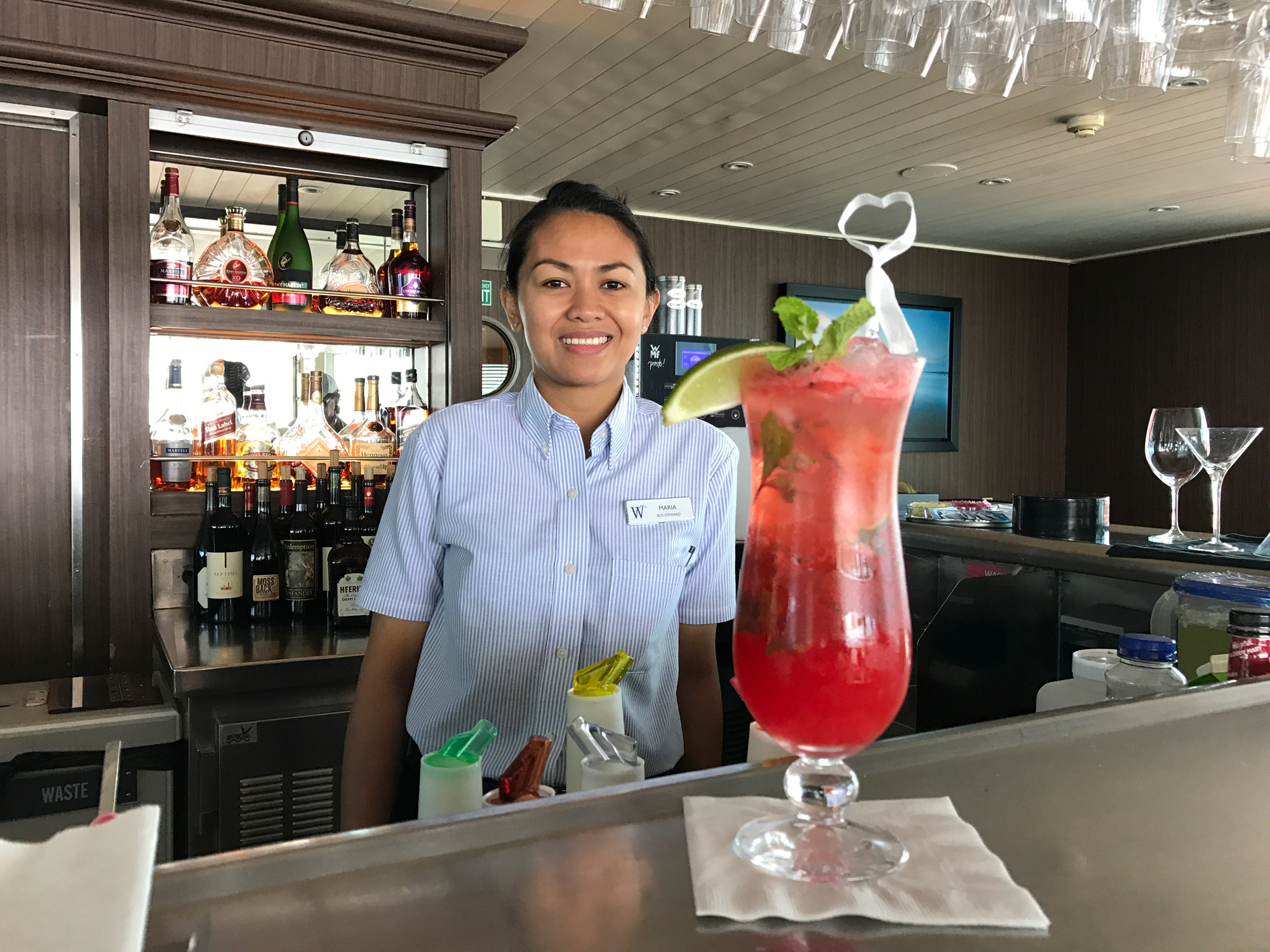 Bar steward Maria on Wind Surf