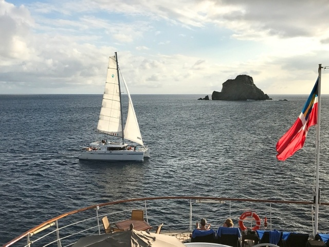 Catamaran at sunset in St. Barts