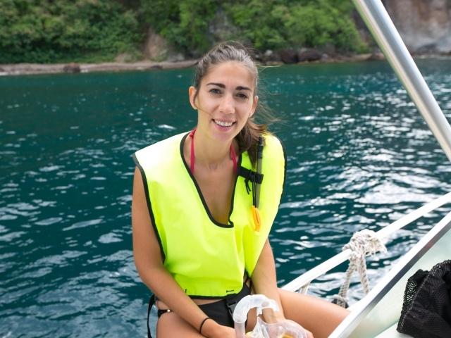 Caterina in snorkeling gear in Dominica