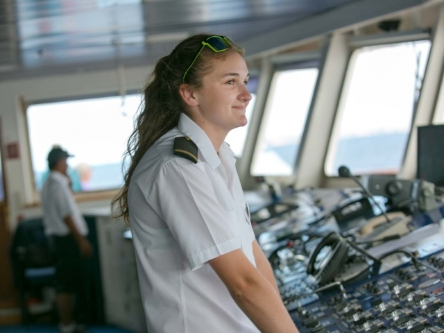 Deck cadet Lottie on Wind Surf
