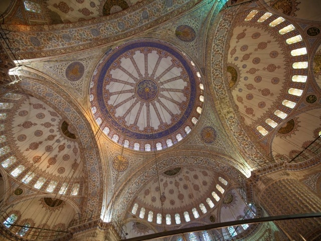 Domes inside Blue Mosque