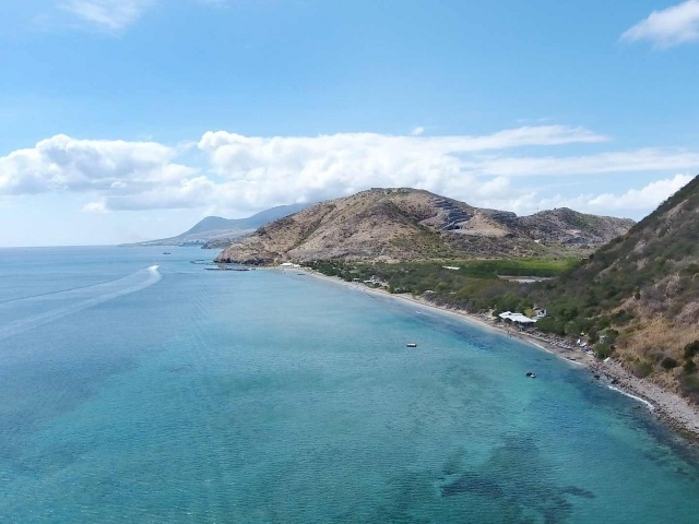 Drone capture of Frigate Bay in St. Kitts looking north