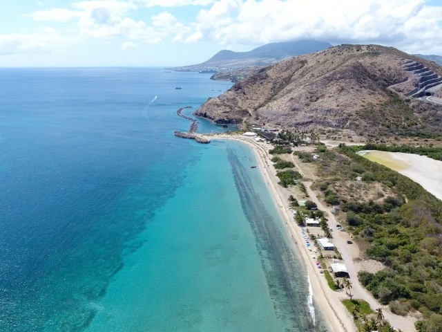 Drone capture of Frigate Bay in St Kitts looking north