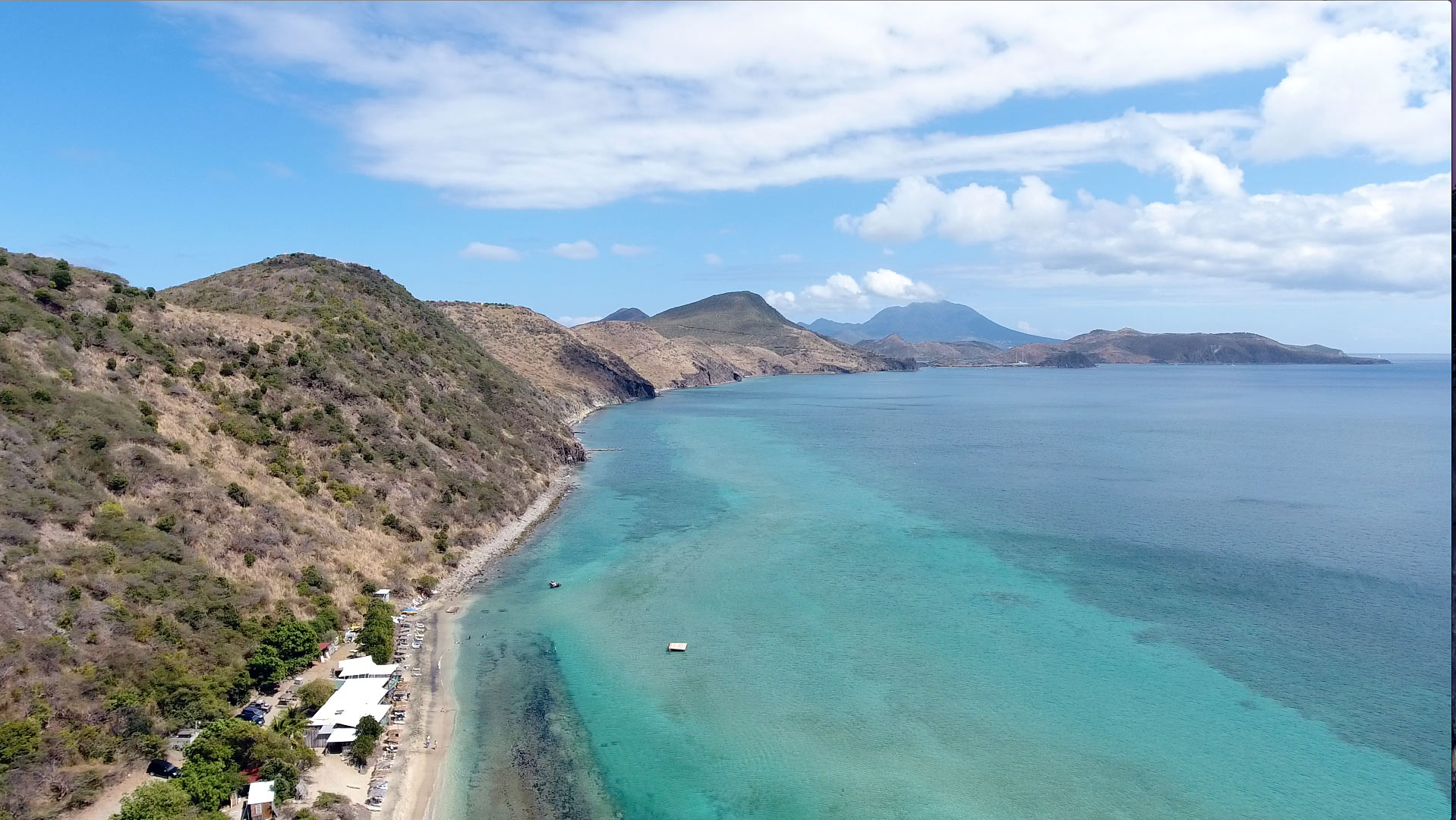 Drone capture of Frigate Bay in St. Kitts looking south
