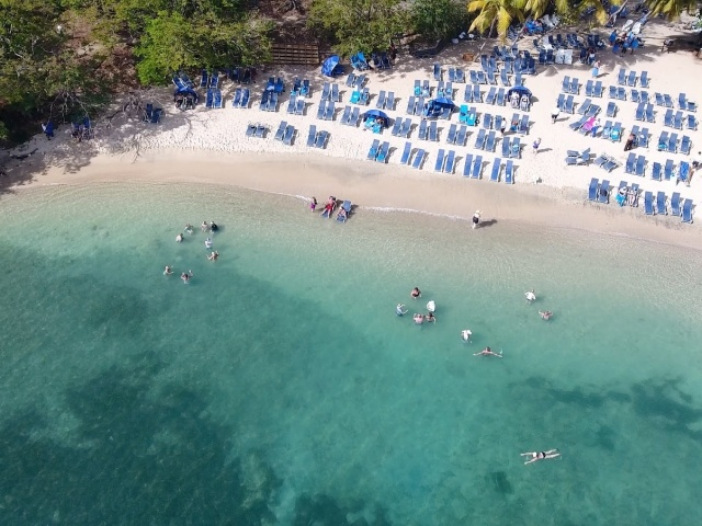 Drone shot of Wind Surf passengers and beach in St. Lucia