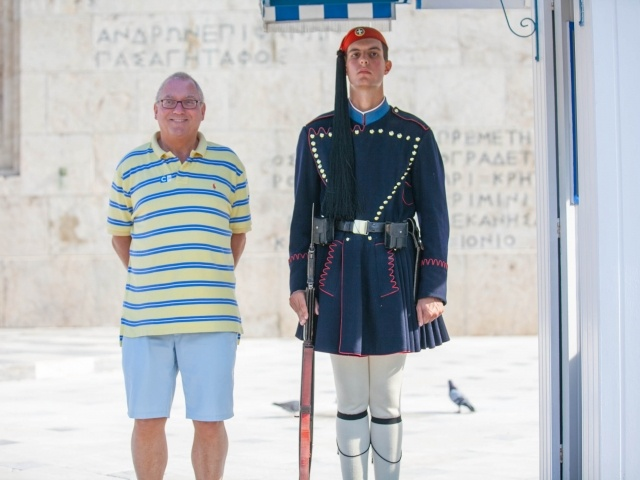 Evzones guard with tourist