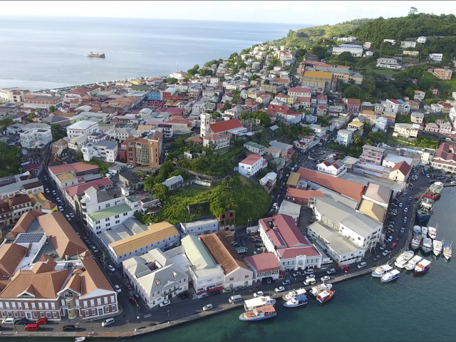 Harbor in Grenada seen from drone, March 2017