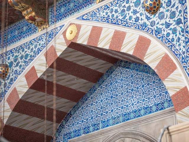 Intricate tile artwork adorn the walls of the Rüstem Pasha Mosque in Istanbul