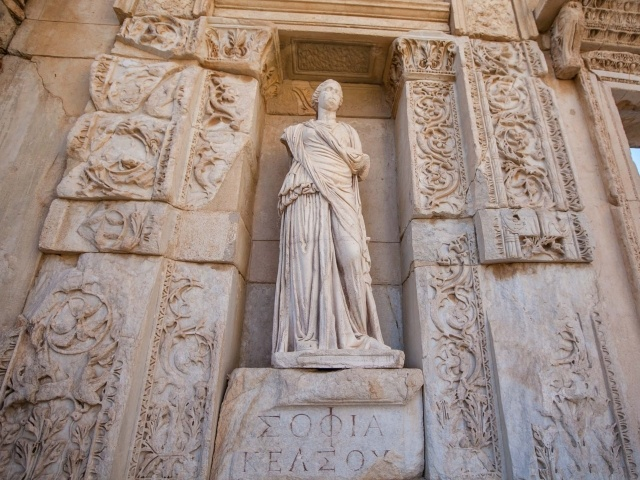 Library of Celsus statue