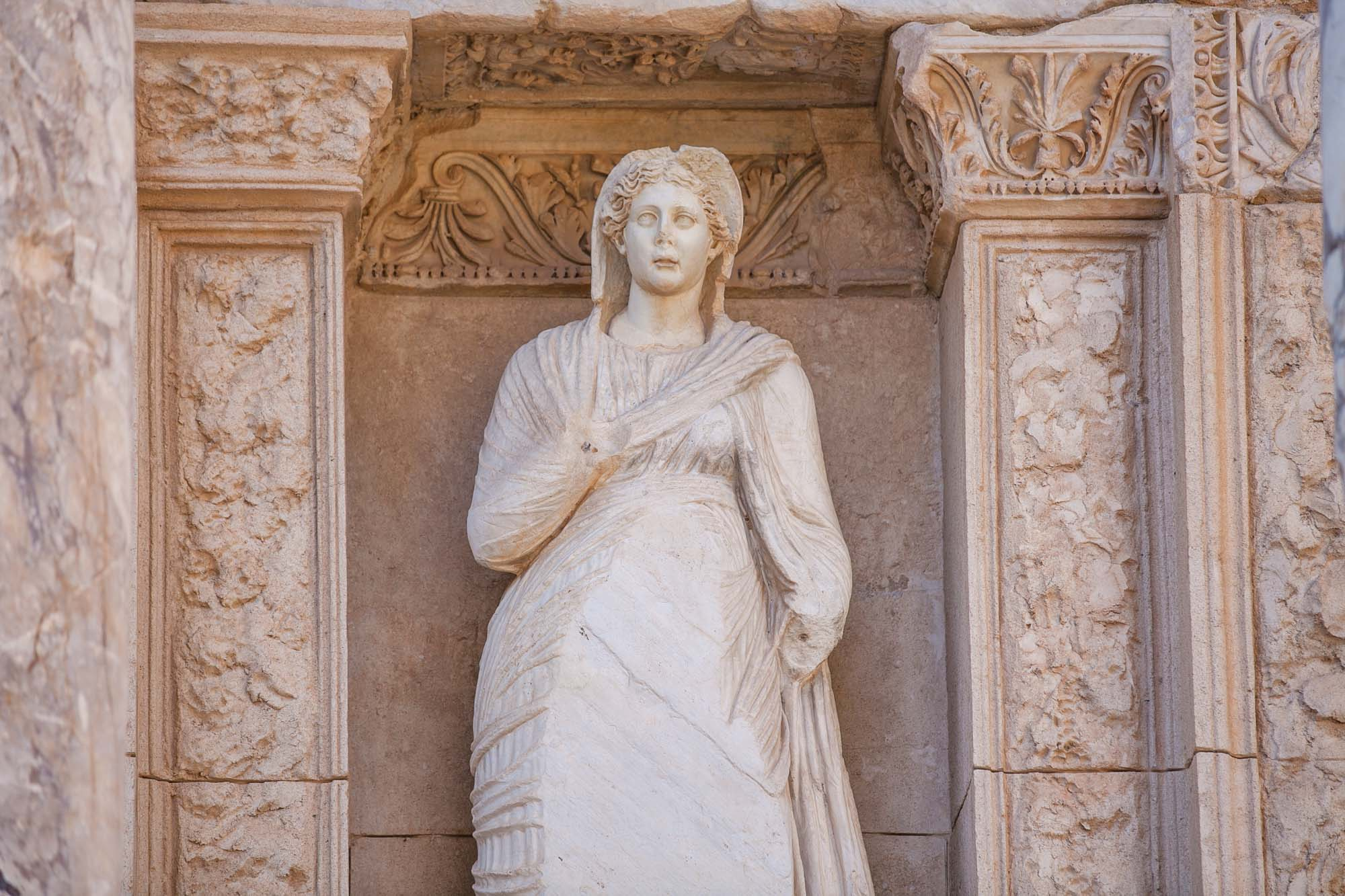 Library of Celsus statue redone