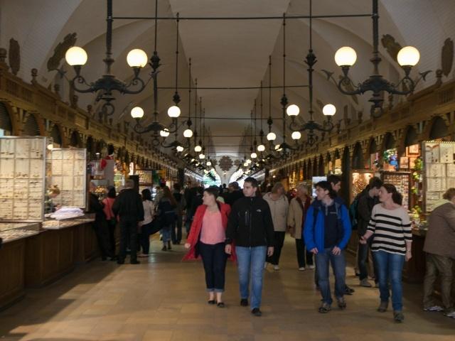 Shops at entrance to Krakow Main Square