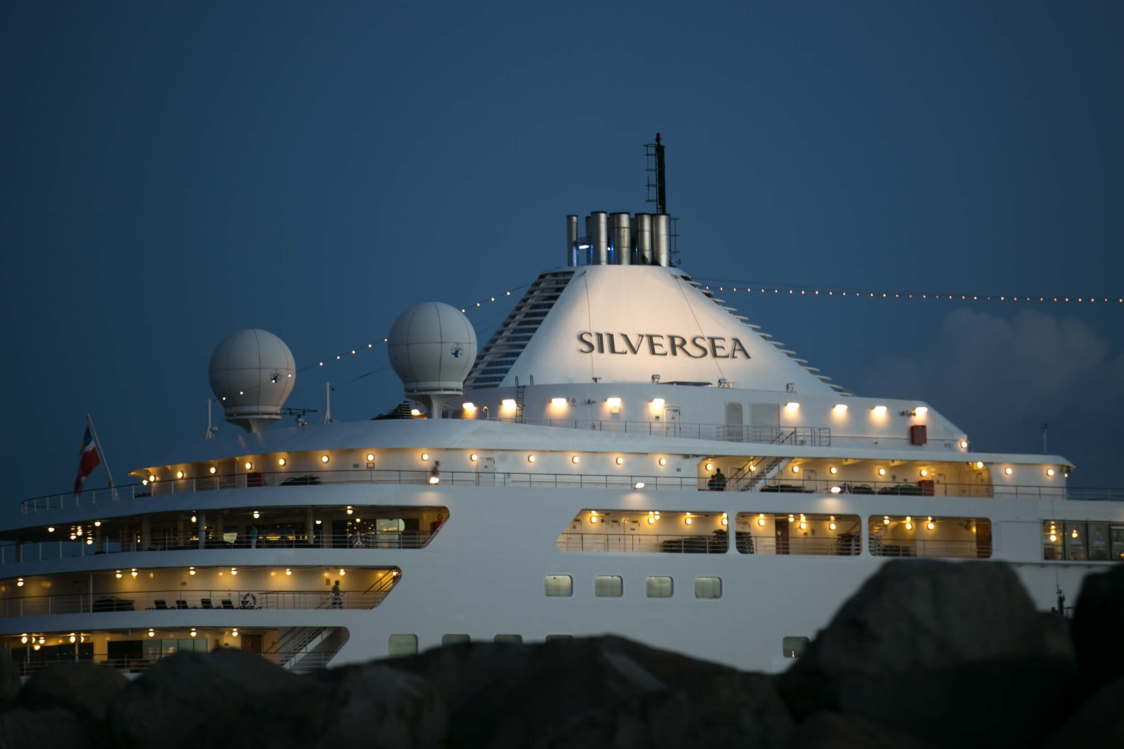 Silver Spirit at nightfall