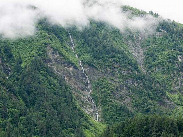 Waterfall snakes down mountain in Juneau