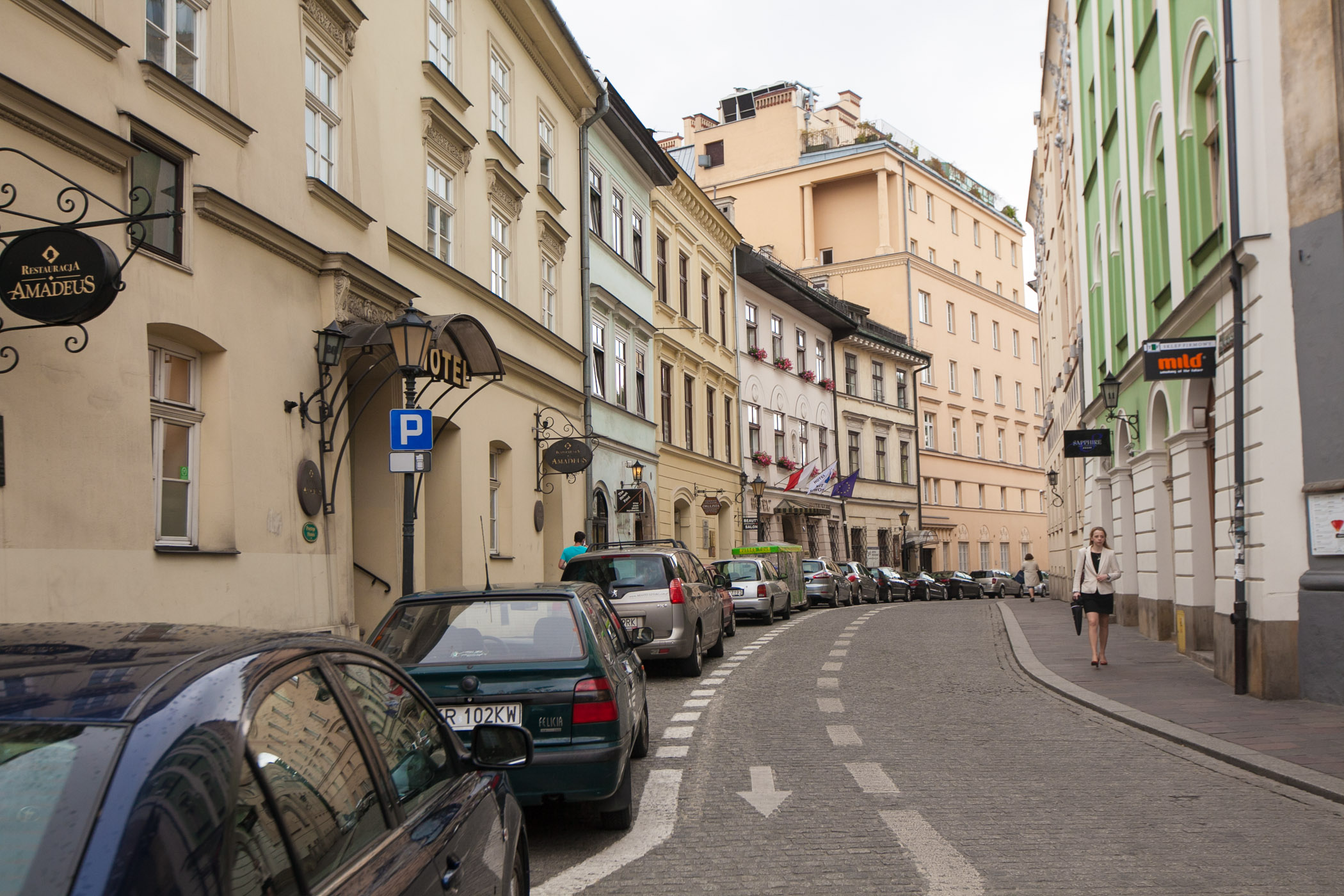 Winding street in Krakow