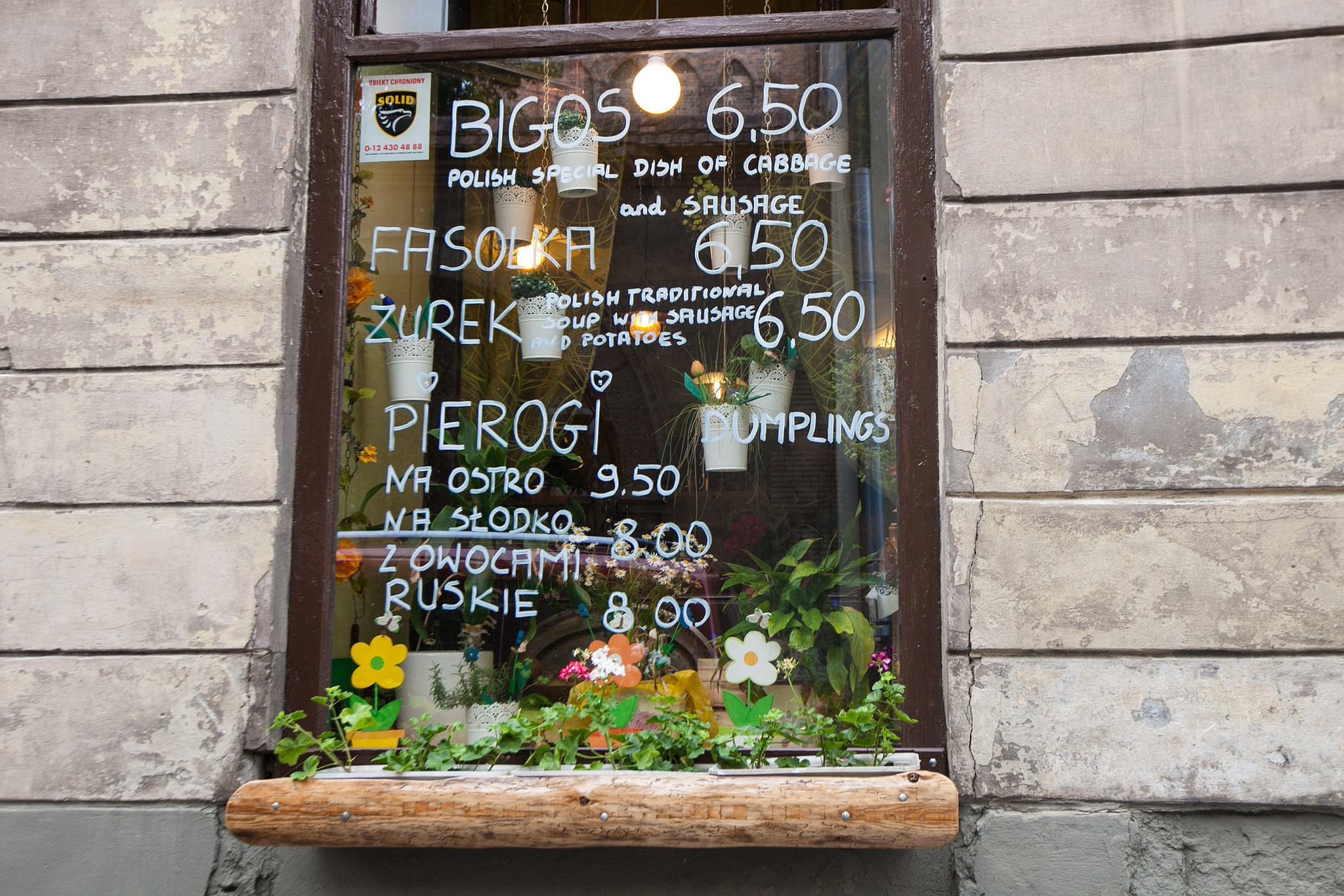 Window menu in Krakow