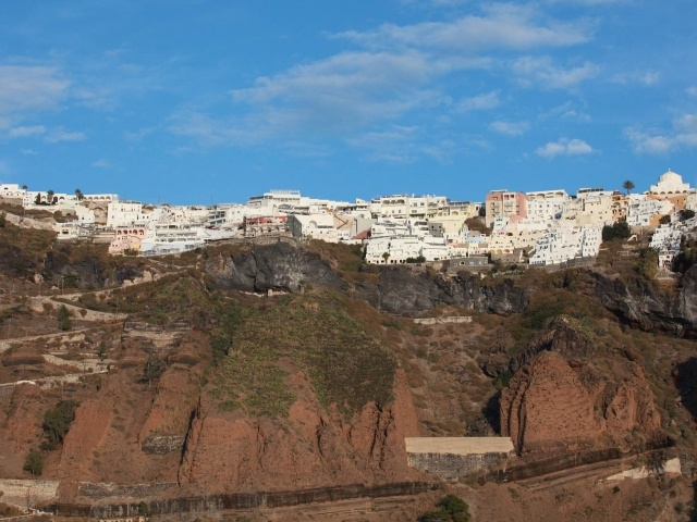 Buildings on cliffs of Fira, Santorini
