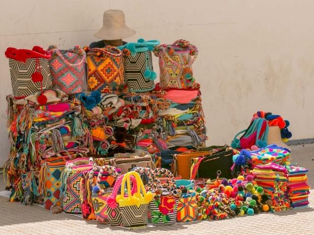 Textiles at Cartagena's Plaza de la Proclamacion
