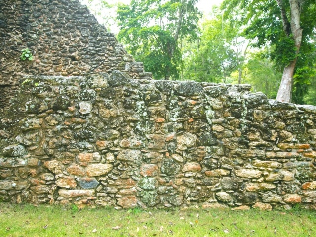 Stone masonry at the Mayan ruins of Dzibanche in Mexico