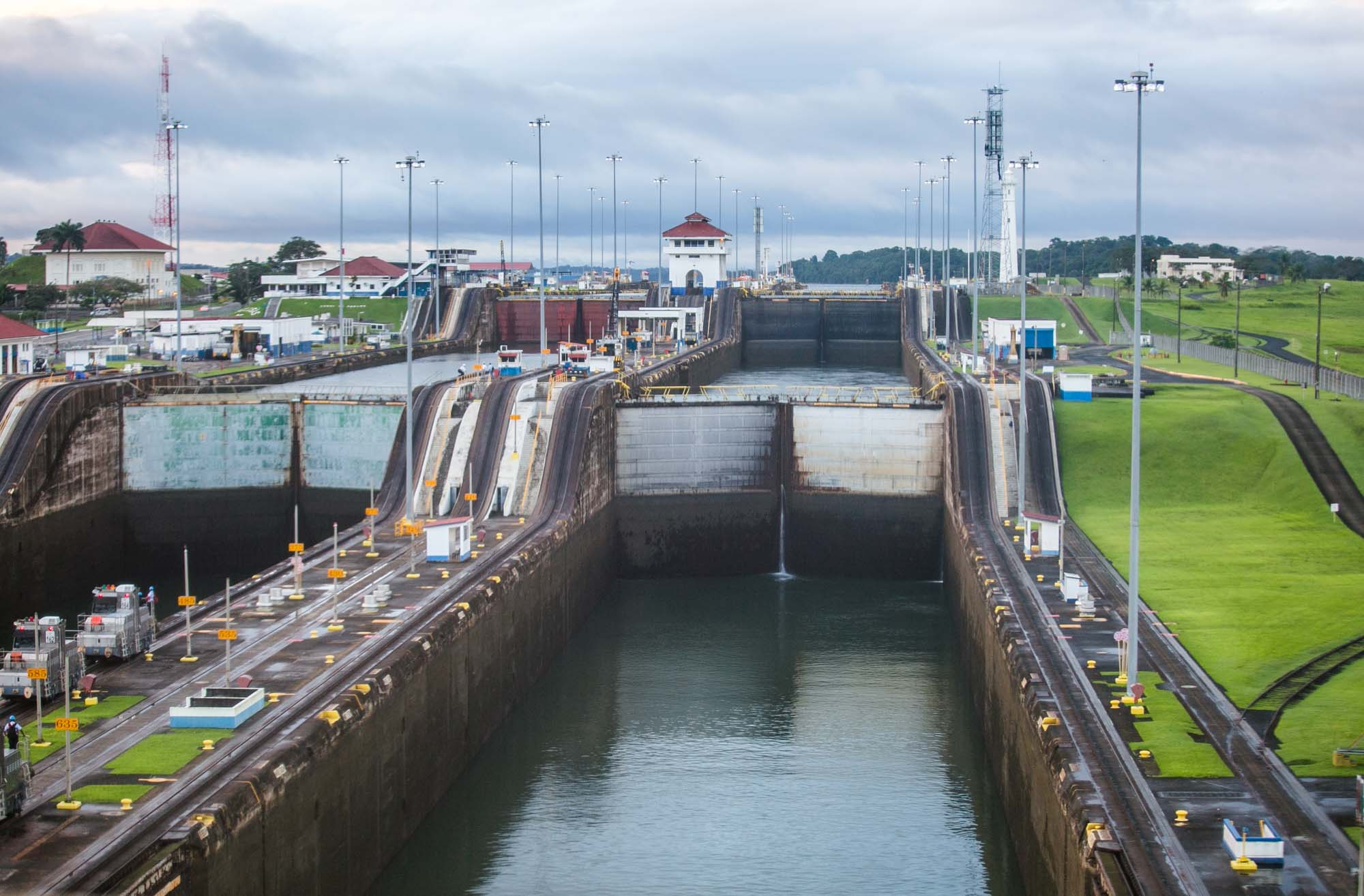 Panama Canal view toward first lock
