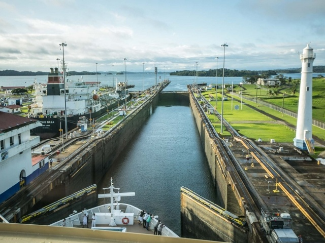 Entering third lock of Panama Canal