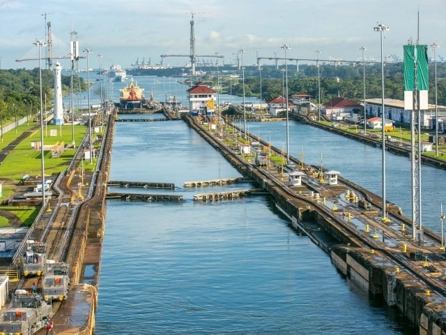 View to the rear from the third lock of Panama Canal on Atlantic side