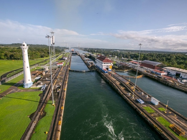 Rear view from second lock of Panama Canal