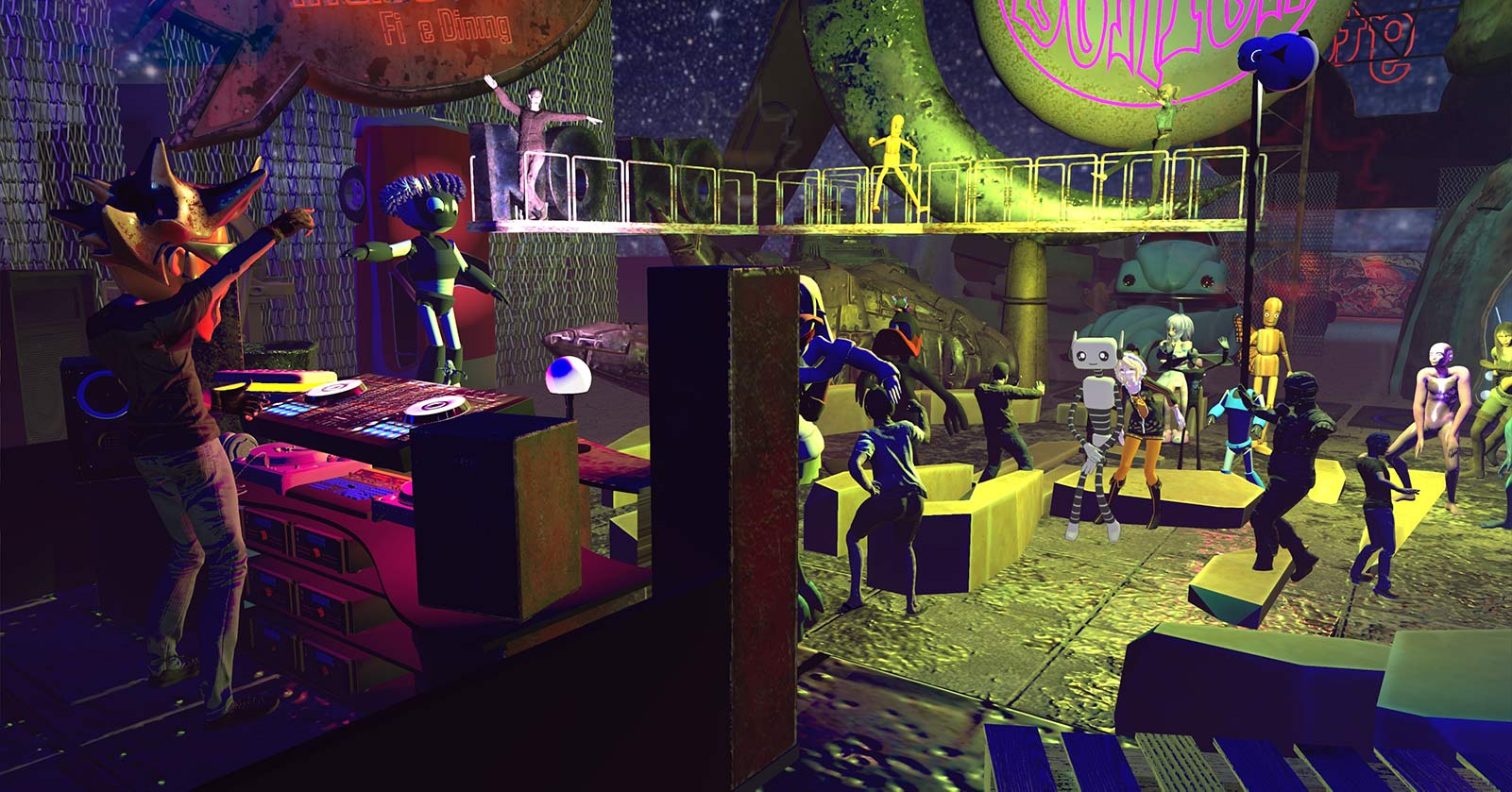A scene from the Rust virtual reality nightclub in High Fidelity.