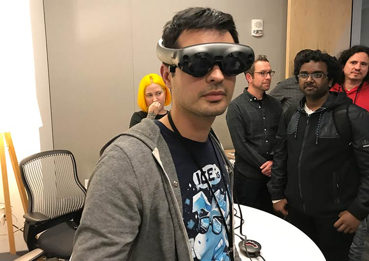 Developer Shane Engelman shows off the Magic Leap One.